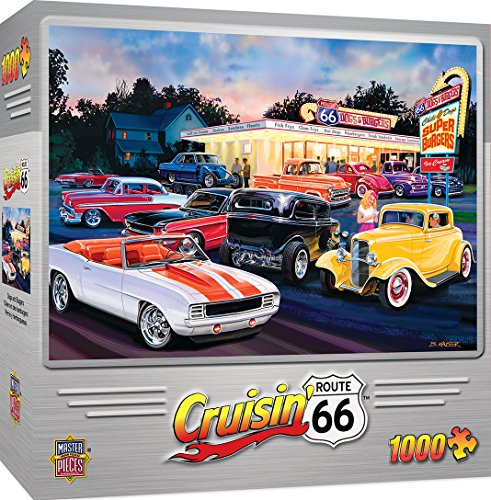 Route 66 Hot Rod - MasterPieces Cruisin' Route 66 Jigsaw Puzzle, Dogs & Burgers, Featuring Art by Bruce Kaiser, 1000 Pieces