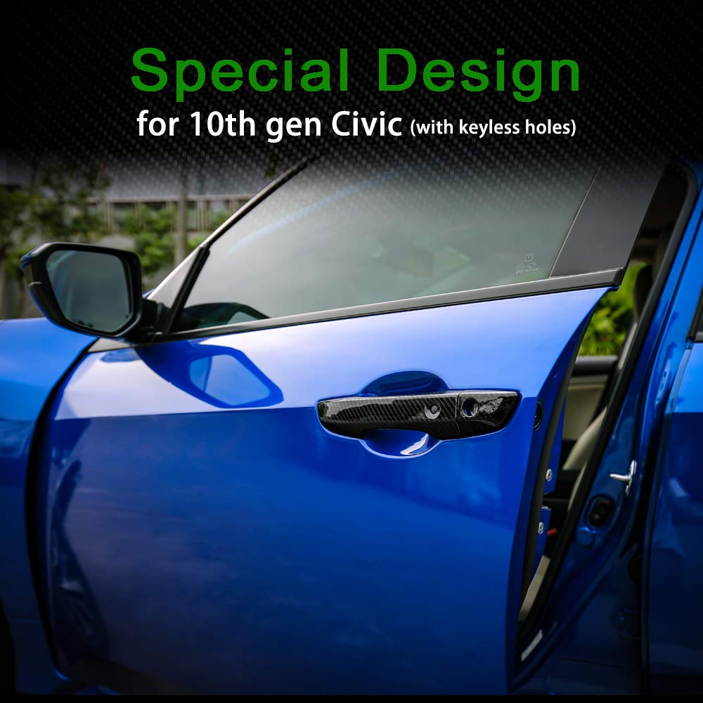 Black Thenice for 10th gen Civic ABS Door Handle Cover Exterior Decoration Super Cool Special Design Trims for Honda Civic 2016 2017 2018 2019