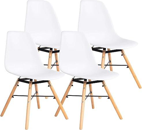 Ellexir Chaise Salle à Manger Scandinave Moderne Chaises De Bureau Blanc 4