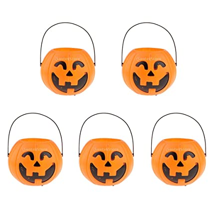 Candy Holder Smile Plastic Pumpkin Bucket Basket Halloween Party Decorations A