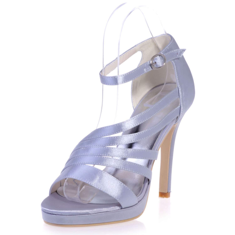 argent Elobaby Femmes Chaussures De Mariée en Satin,MesLes dames Ivoire Talons Hauts Boucle Robe Peep Toe Fermé Talon De Mariée   11Cm