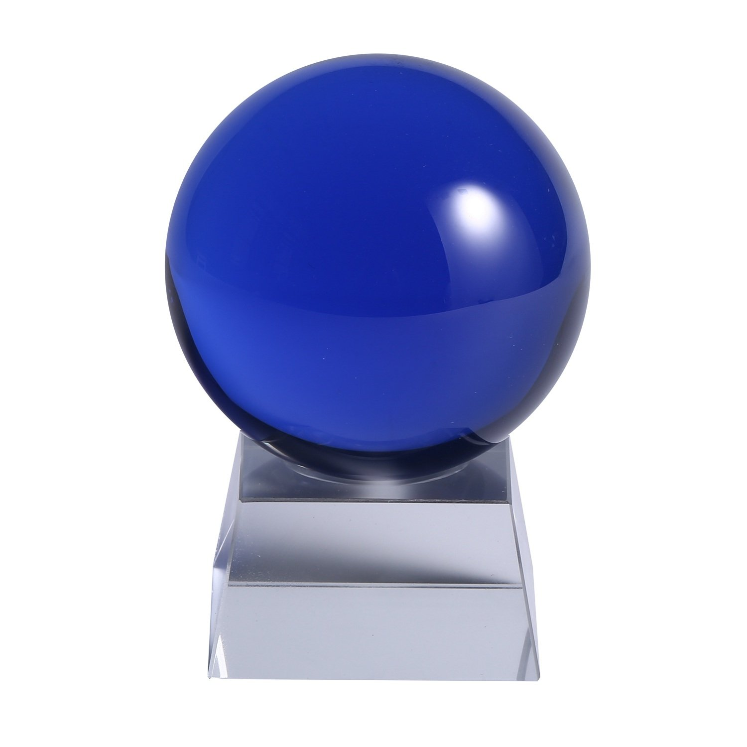YOCTOSUN Crystal Blue Crystal Ball 3.15 inch (80mm) Crystal Sphere Ball with Free Crystal Stand