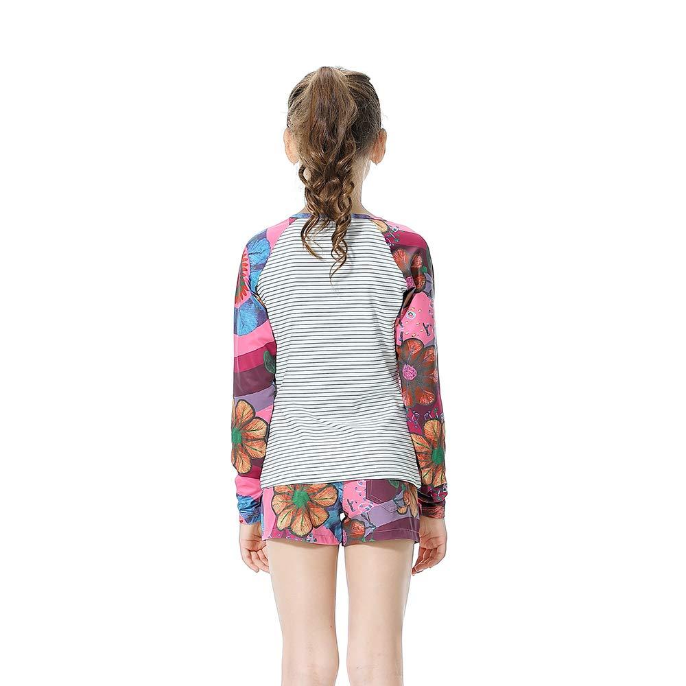 BASADINA Girls Swimsuits Long Sleeve Two Piece Rash Guard Set Swimwear Bathing Suit for Kids 5-14