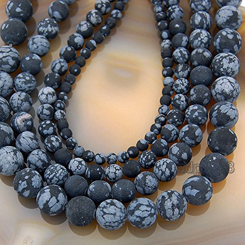 Natural Matte Gemstone Round Spacer Beads (8mm, Snow Flake (Snowflake Jasper)