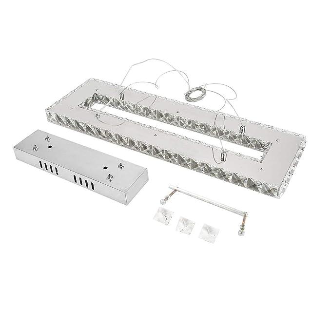 Amazon.com: Lámpara de araña de cristal rectangular K9 para ...