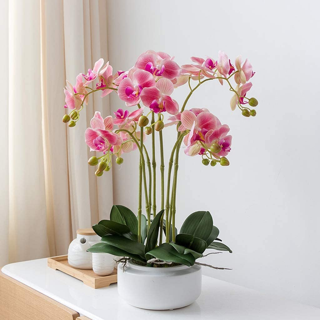 Heclong Artificial Flowers With Planter Orchid Indoors Silk Large Flower Artificial Plants In Pots Face House Fake Flower Potted Bonsai White Pink Color Pink Home Kitchen