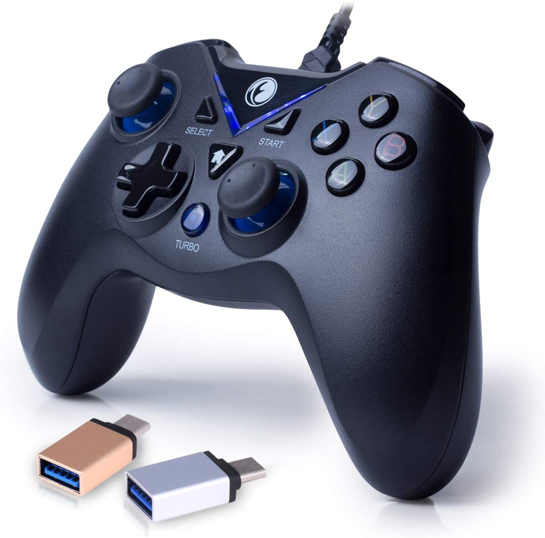 IFYOO V-one Wired USB Gaming Controller Gamepad Joystick for PC Laptop Computer (Windows XP/7/8/10) & Steam & Android & PS3 - [Blue,OTG]