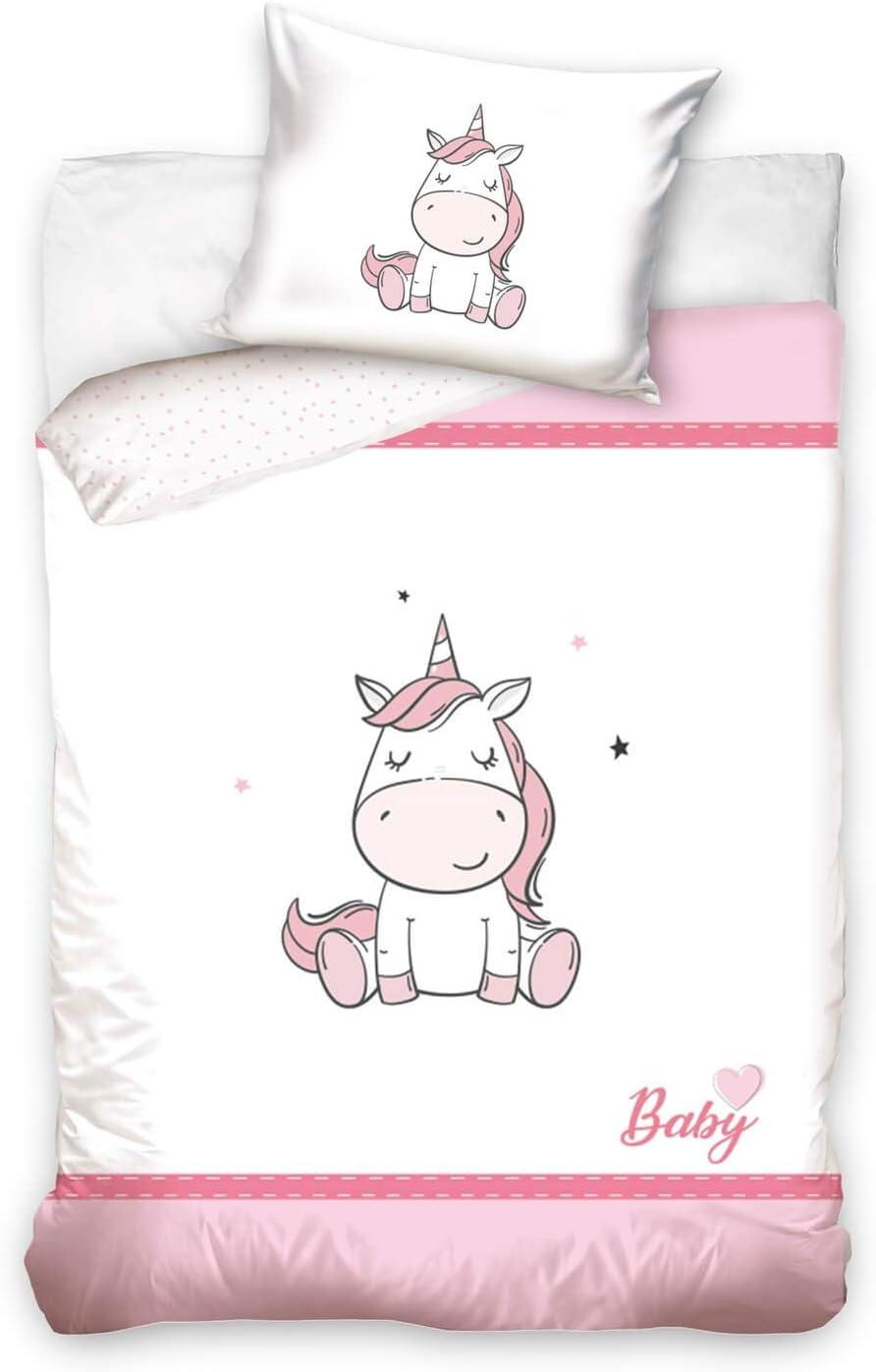 DHestia - Juego de Funda Nórdica 100% Algodón Natural para Cuna de Bebé Unicornio Baby1910017
