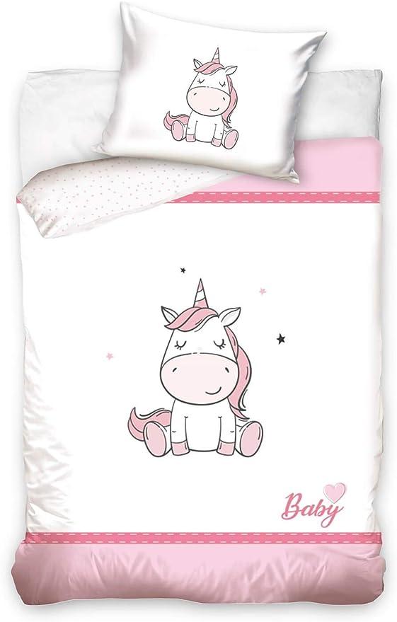 DHestia - Juego de Funda Nórdica 100% Algodón Natural para Cuna de Bebé Unicornio Baby1910017: Amazon.es: Bebé