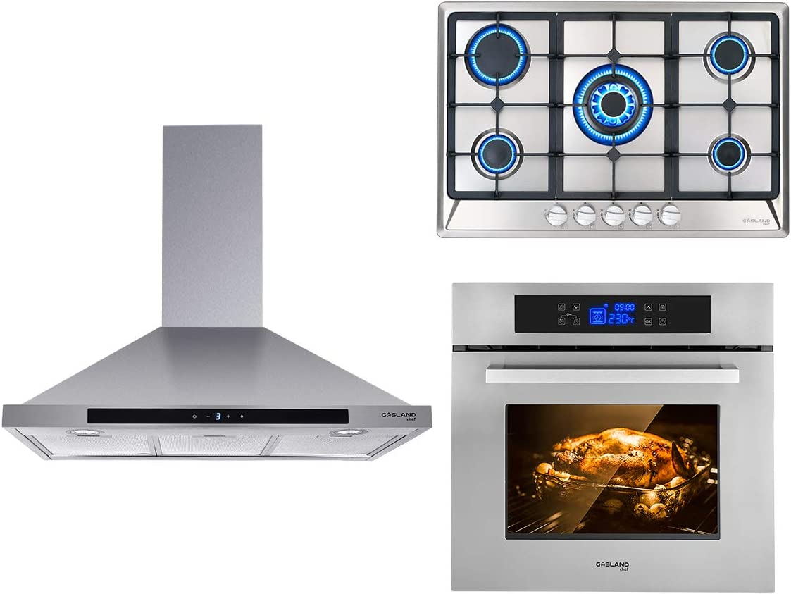 """GASLAND Chef 3-Piece Stainless Steel Kitchen Package with PR30SS 30"""" 120V Wall Mounted Range Hood + GH77SF 30"""" 5 Burner Propane Natural Gas Cooktop + ES611TS 240V 24"""" Electric Single Wall Oven"""