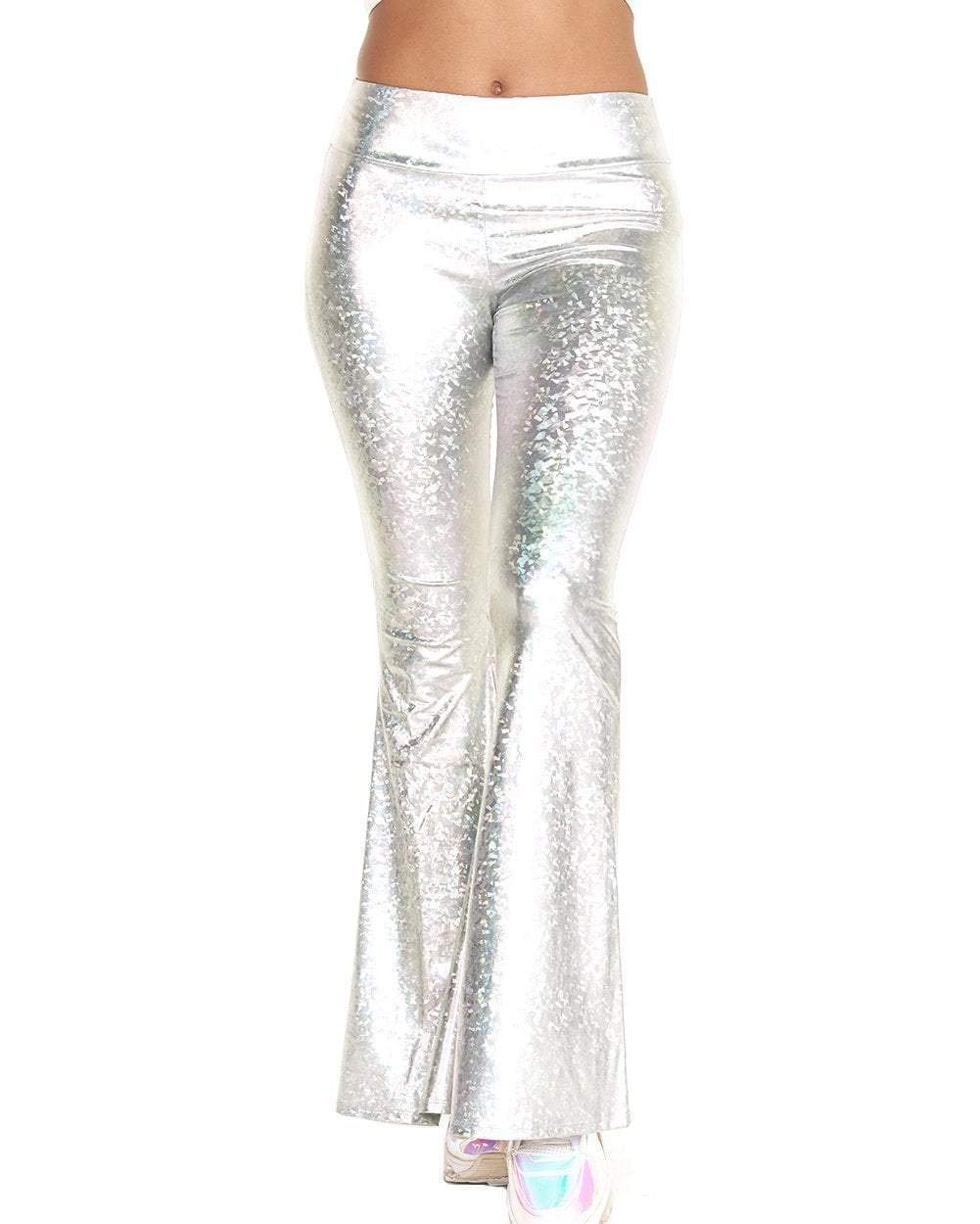 iHeartRaves Women's High Waisted Bell Bottom Flared Pants for Costumes