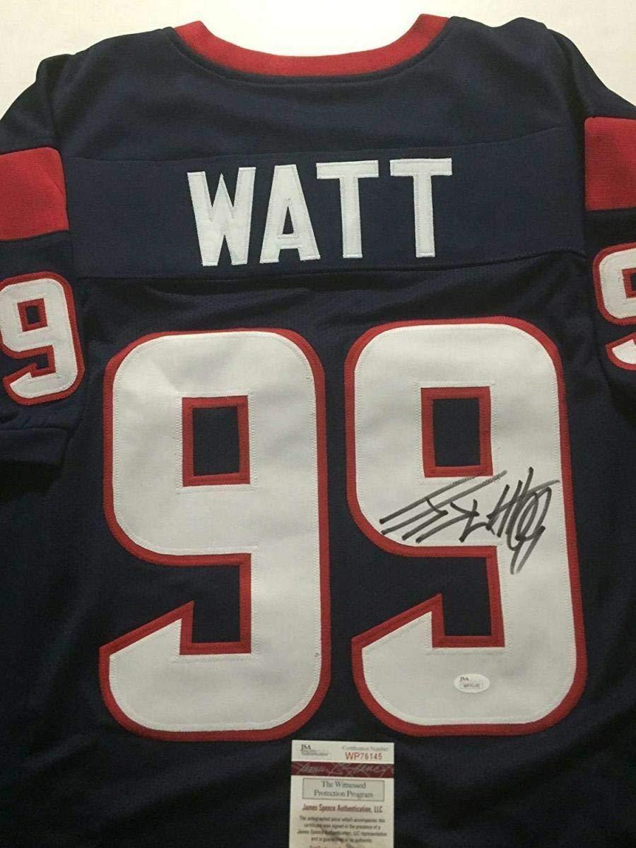 JJ Watt Houston Texans Signed Autograph Embroidered Logo Football Watt Player Holo JSA Witnessed Certified