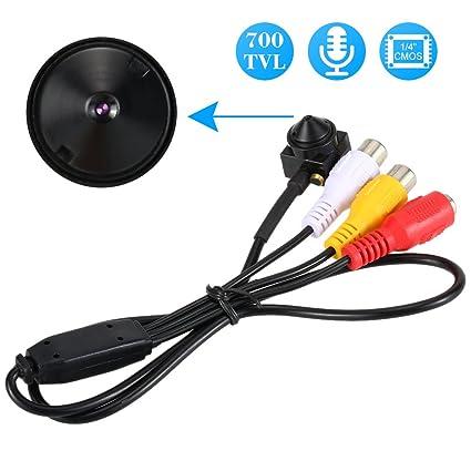KKmoon Mini Cámara Estenopeica, 700TVL Camara de Vigilancia Audio Pinhole Color CCTV Cámara Seguridad Hogar