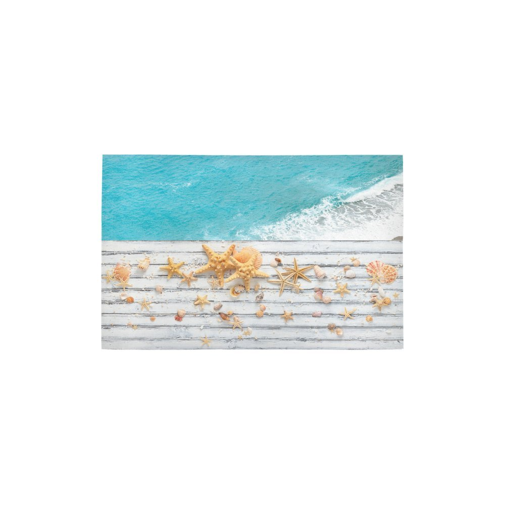 InterestPrint Beach Starfish Seashell Carpet Non Slip Modern Area Rugs 2'7'' x 1'8'', Ocean Tropical Ancient White Wood Rug Mat Collection for Living Dining Room Home Decoration