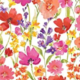 """Elrene Home Fashions 39320MLT Elastic Edge Wrap-Around Vinyl Tablecloth with Flannel Backing Floral Gardens Easy Care Spillproof, 70"""" Round Elastic Edge"""