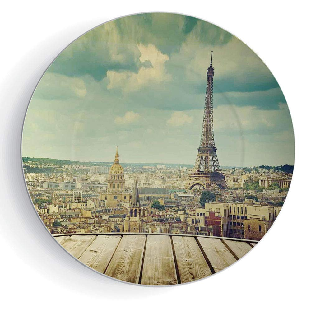 """iPrint 8"""" Eiffel Tower Ceramic Decorative Plates Paris Cityscape with Eiffel Tower View from a Wooden Deck Table Urban Life Classic"""