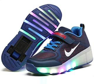 Charmstep Enfants Chaussures à roulettes, LED Chaussures Baskets pour Garçons et Filles Lumineuse avec Unique Roue Chaussures de Sport