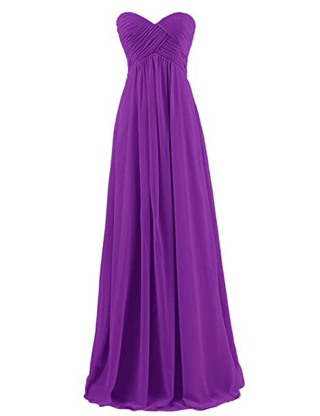 Review BISLU Sweetheart Bridesmaid Chiffon Prom Dress Long Evening Gown