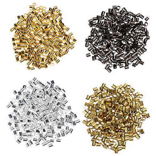 Crimp Tube Beads - 1000-Piece Tube Crimp Beads for Jewelry Making, 2x2 mm Crimp Tube Spacers, Jewelry Crimping Beads in Gold, Silver, Copper, Black, 250 Pieces of Each Color