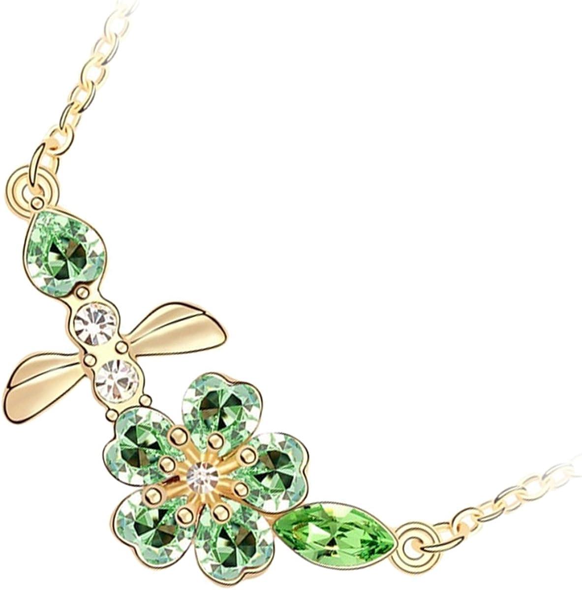 GWG Jewellery Collares Mujer Regalo Collar, con Colgante Chapado en Oro 18K Abeja y Flor de Miel Cubiertas con Piedras de Colores Diferentes para Mujeres