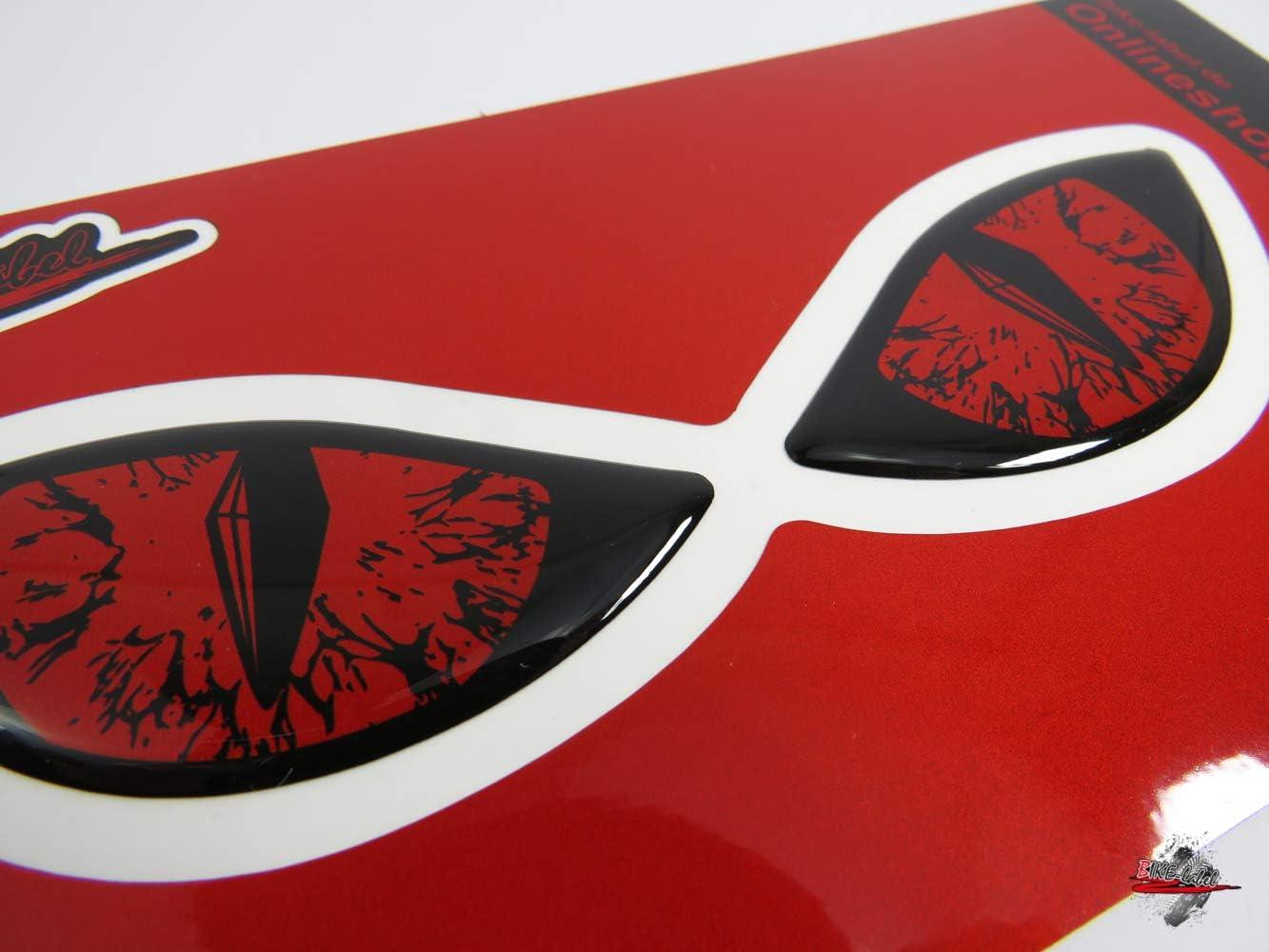 Bike Label 910065va Reflektor Aufkleber 3d Böse Augen Auto Motorrad Helm Rot Auto