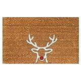 """Red Nose Reindeer Christmas Vinyl Backed Coir Doormat (18""""x30"""")"""