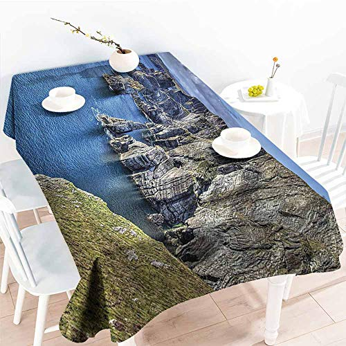 (Homrkey Polyester Tablecloth Room Decorations Collection Atlantic Coast Cliffs at Mizen Head County Cork Ireland Ocean Coastal Scenery Image Blue Grey Easy to Clean W70 xL102)