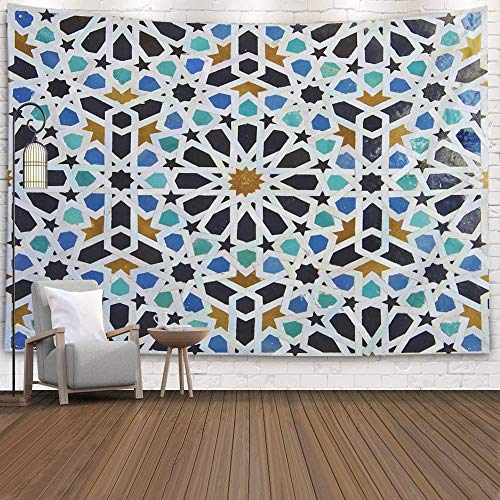Tooperue Large Tapestry, Dormitory Tapestry Room Decoration Outdoor 80X60 Inch Tile Pattern in a Riad FES Morocco Art Tapestry Beach Blanket Camping Tapestry,Gray Green (Best Riads In Morocco)