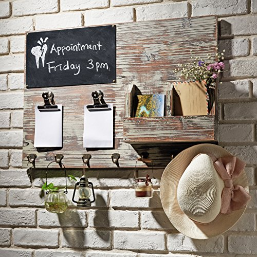 Torched Wood Wall Mounted Chalkboard Memo Clips, Mail Sorter and Key Hooks, Entryway All-in-One Organizer by MyGift