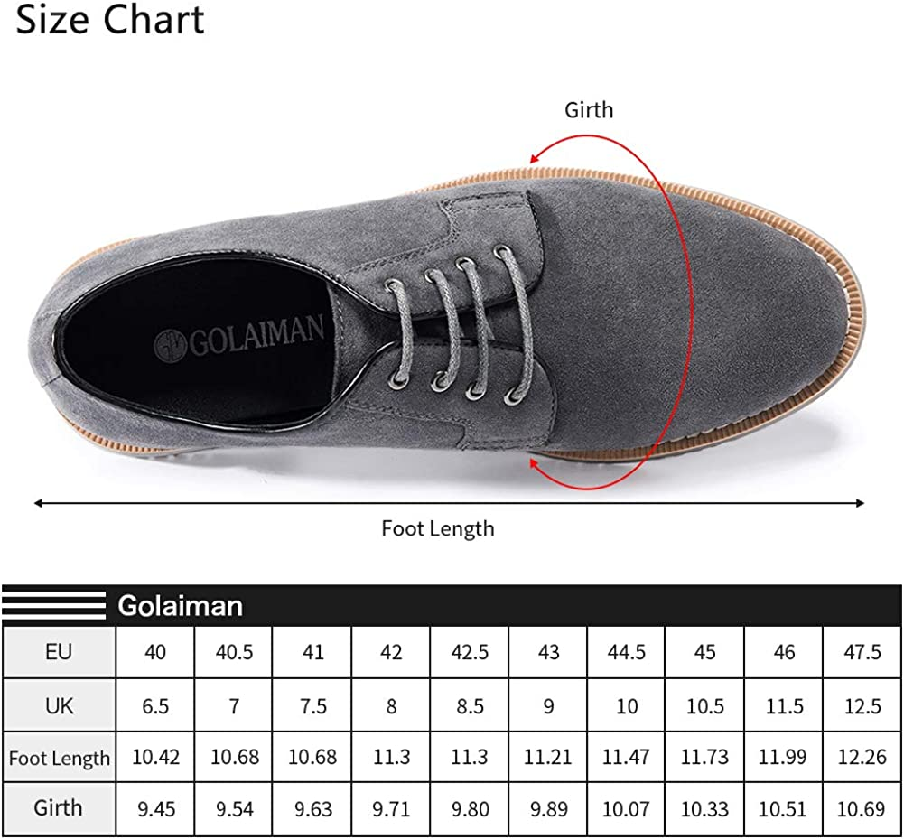 GOLAIMAN Herren Wildleder Oxford Schuhe klassisch Schn/ürung Derbys