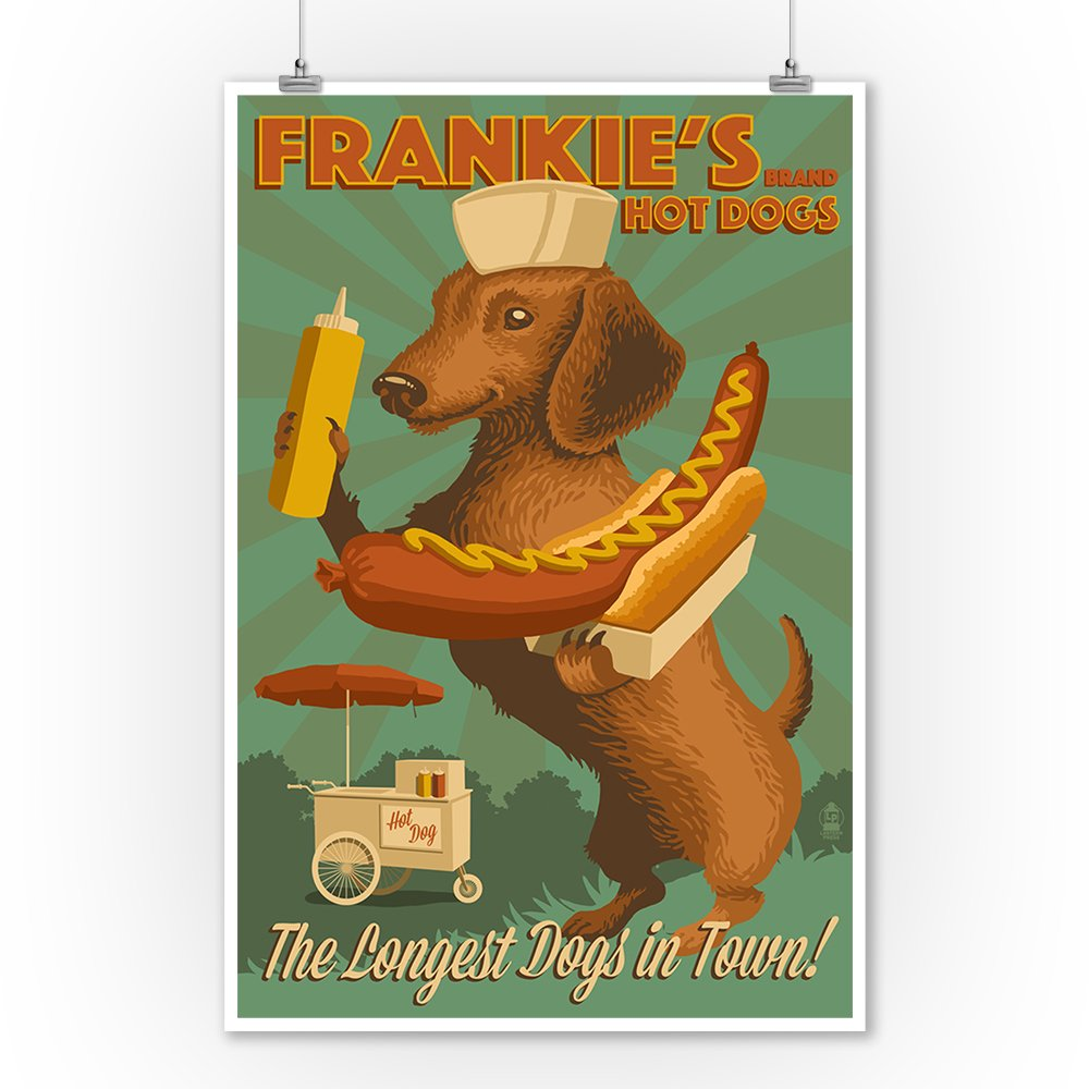 Dachshund Home Decor Amazoncom Dachshund Retro Hotdog Ad 9x12 Collectible Art
