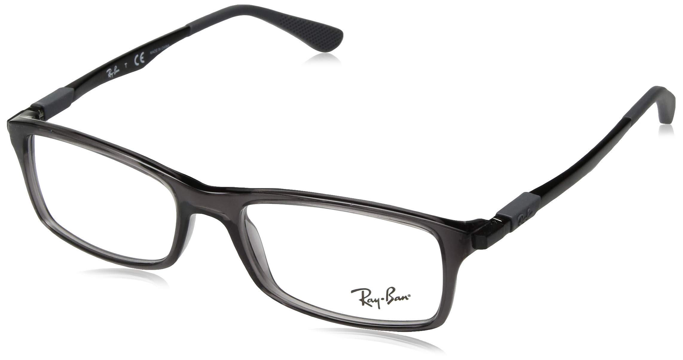 Ray-Ban RX7017 Rectangular Eyeglass Frames, Transparent Grey/Demo Lens, 54 mm
