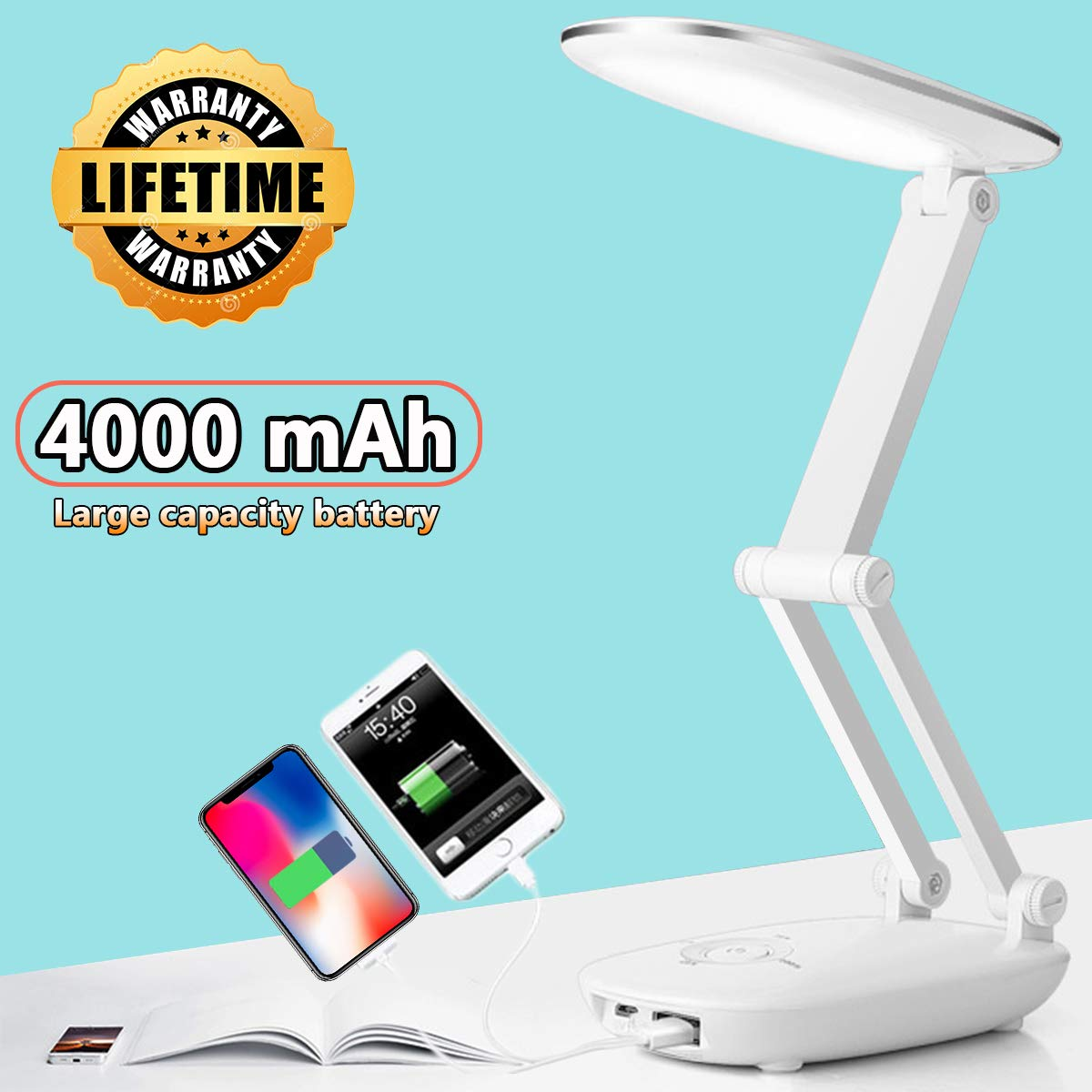 led desk lamp for kids desk lamp with usb charging port reading lights for books in bed portable folding desk lamp office women girls beside table lamp for study desk light battery powered small white
