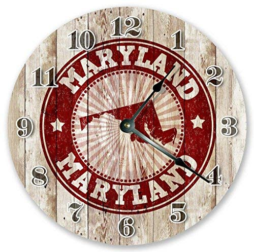 OSWALDO Vintage Rustic Maryland Stamp Wood Boards Clock Decorative Round Wooden Wall Clock - 12 inch