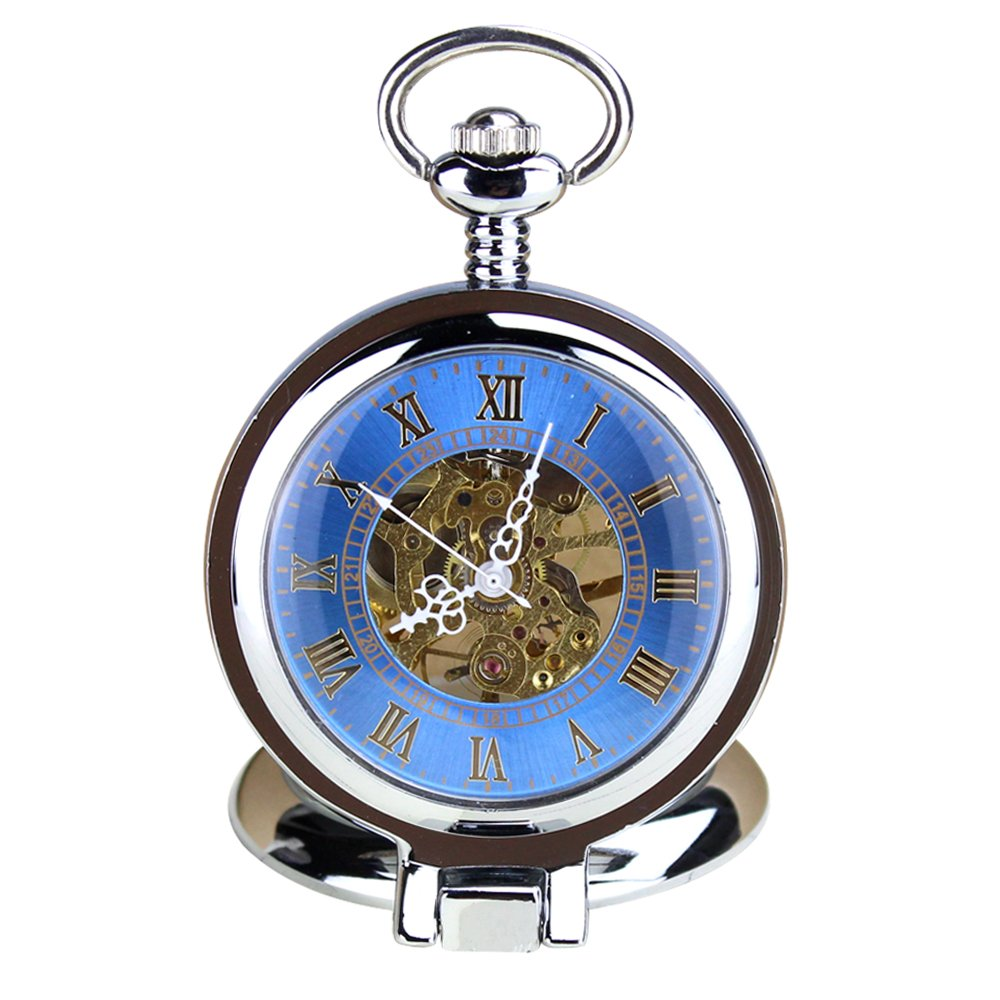 KTC Vintage Silver Color Hand-Wind Mechanical Blue Hollow Dial Roman Numeral Pocket Watch