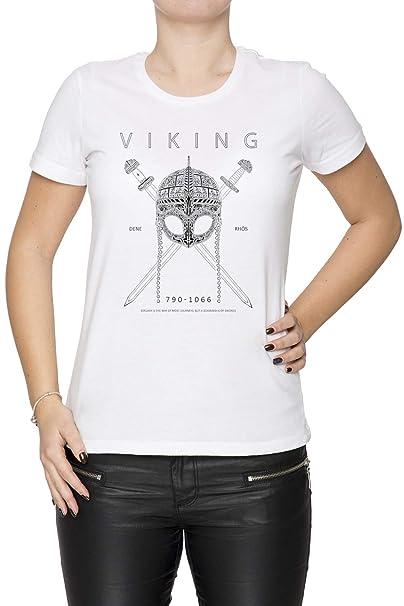 Erido Vikingo Diseño Mujer Camiseta Cuello Redondo Blanco Manga Corta Todos Los Tamaños Womens White T-Shirt: Amazon.es: Ropa y accesorios