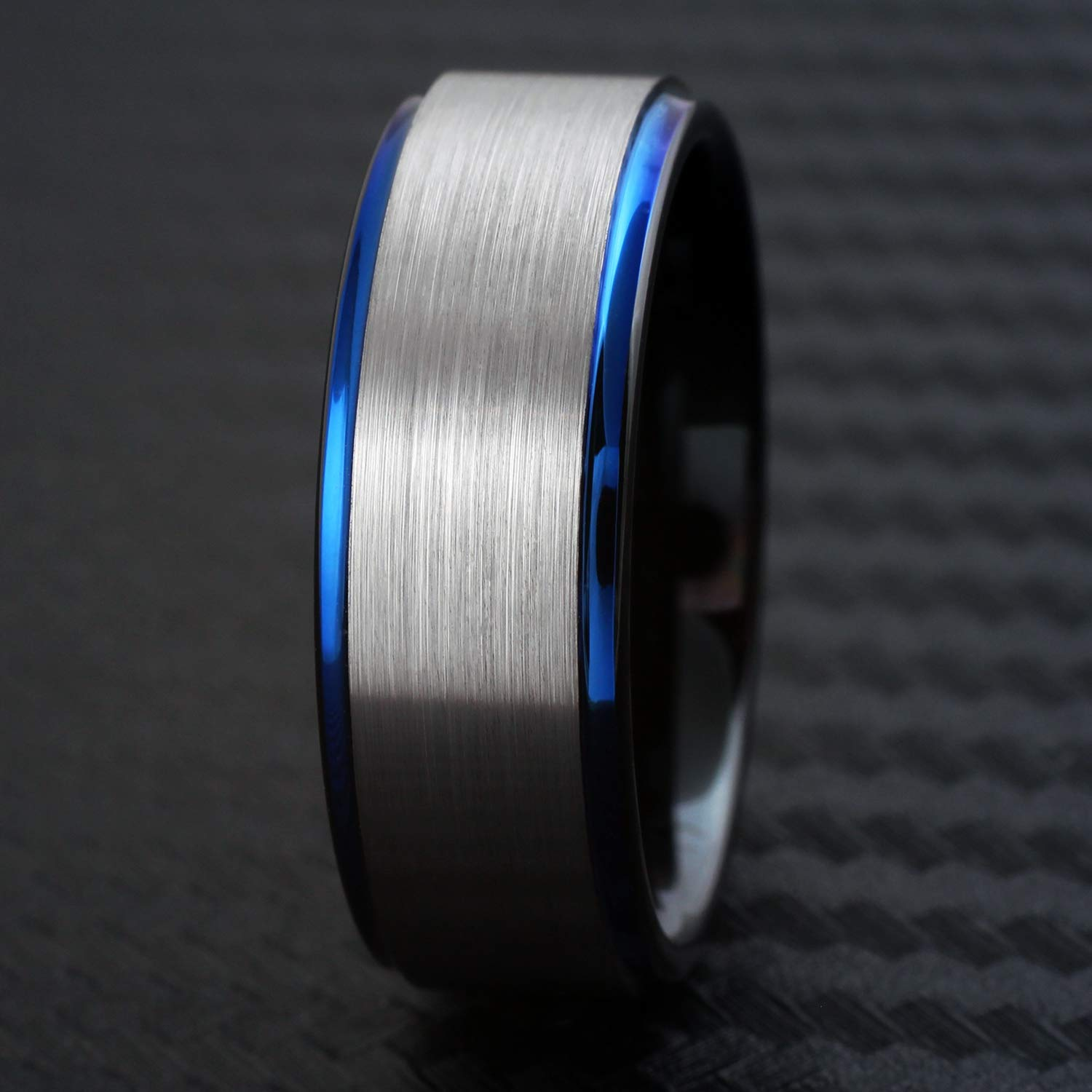 Engraved Personalized 3-Tone 6mm//8mm Tungsten Carbide Band Ring with Brushed Satin Finish Silver Outer Band Polished Royal Blue Stepped Edges /& Black Comfort Fit Inner Band.
