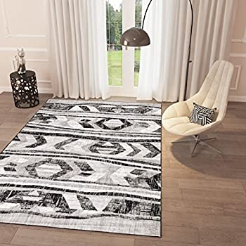 Attractive Amazon.com: Black and White Grey Distressed Tribal Print Area Rug  LG27