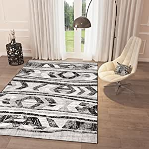 Amazon Com Black And White Grey Distressed Tribal Print Area Rug 2 3 Quot X 7 3 Quot Runner Casual