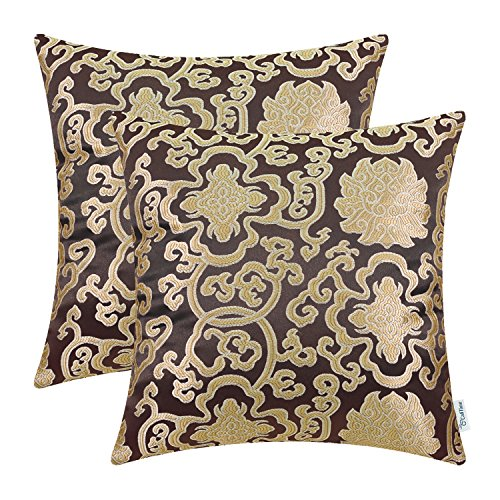 CaliTime Pack of 2 Soft Jacquard Throw Pillow Covers Cases for Couch Sofa Home Decoration Vintage Damask Floral Chain 18 X 18 Inches Coffee