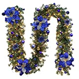 Wawer Artificial Flowers,Xmas LED Tree Hanging Ornament Rattan Flowers Colorful Decoration Floral Arrangement LED Light String For Christmas Party (A)