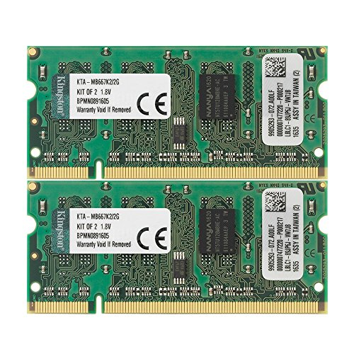 Non Ecc Cl5 200 Pin (Kingston Apple 2GB Kit (2x1GB Modules) 667MHz DDR2 200-Pin SoDimm iMac and Macbook Memory (KTA-MB667K2/2G))