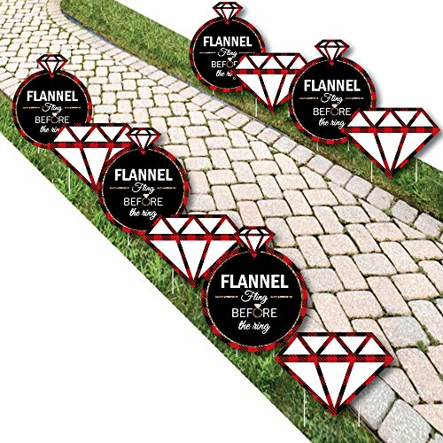 Big Dot of Happiness Flannel Fling Before the Ring - Ring Lawn Decorations - Outdoor Buffalo Plaid Bachelorette Party Yard Decorations - 10 Piece]()