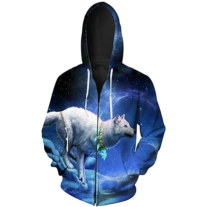 Amazon.com: wolfhdies Star lobo impresión cierre sudadera ...