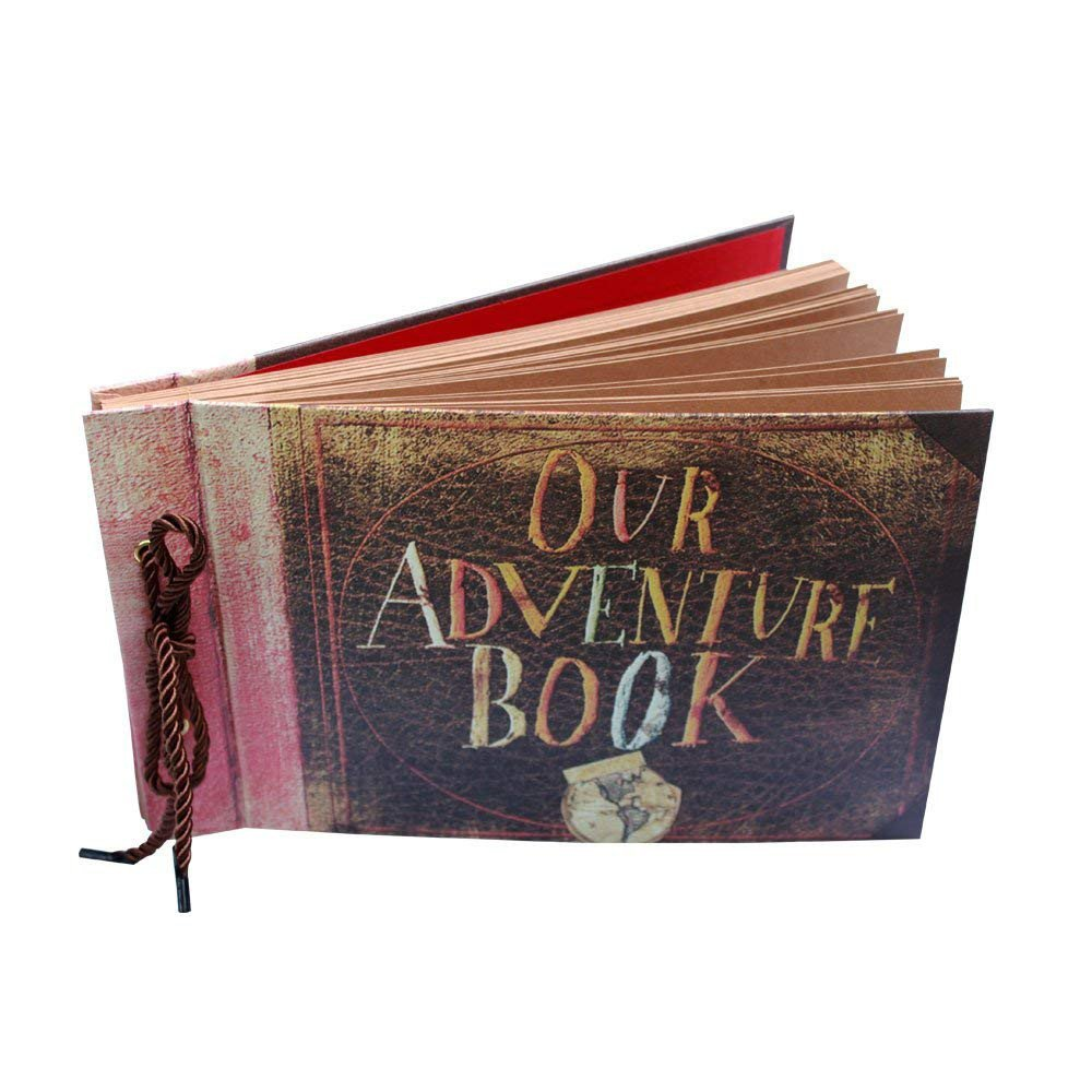 Gbell Our Adventure Book Scrapbook, Wedding Album, Unique DIY Scrapbook, 40 Pages - Great as Engagements Memory Book, Graduations Adventure Book, Guestbook, Baby Photo Albums (Brown)