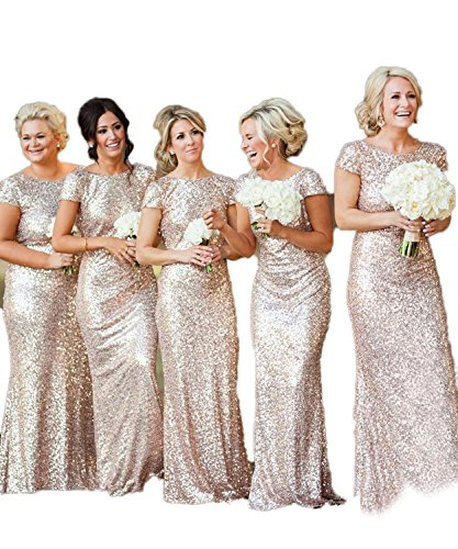 MisShow Women Sequins Bridesmaid Dress Long Glitter Prom Evening Gowns, Rose Gold, 10 ()