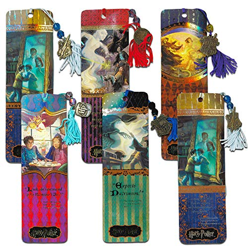 - Harry Potter Party Favors Super Set -- 6 Premium Harry Potter Bookmarks with Tassel and Metal Pendant (Harry Potter Party Supplies)