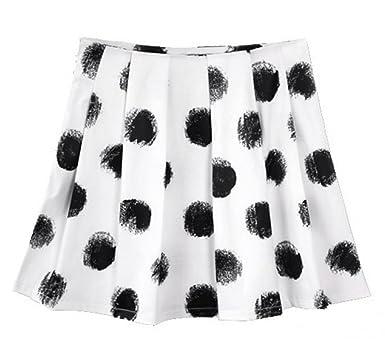 b8d39b4e68 Enlishop Women's Print Dots Pleated A-Line Pencil Plaid Mini Skirt S  Black&White