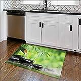 Indoor/Outdoor Floor Mat spa still life with bamboo fountain and zen stone Mildew Resistant W22'' x H12''
