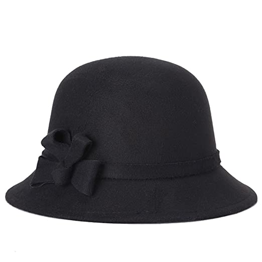 784191f2314 Ealafee Lady Fedora Hat Wide Brim Black Wool Floppy Hat Vintage Bowknot  Felt Hat